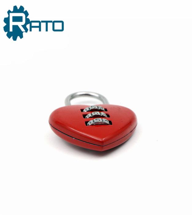 Heart Shape 3 Digit Combination Padlock