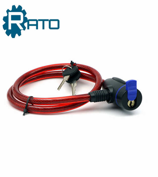 Portable Self Coiling safe cable wire key bicycle lock