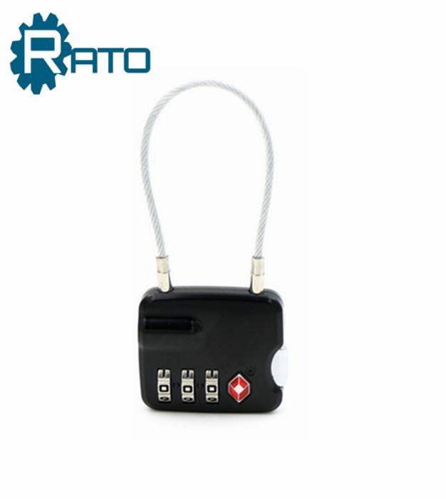 Push Button TSA Small 3 Digital Combination Cable Padlock
