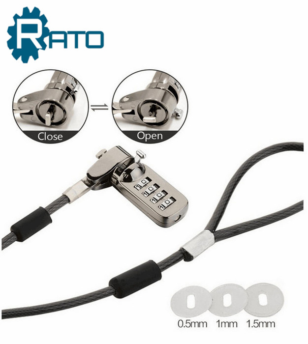 Anti-theft Hardware 4 Dial Combination Cable Notebook Lock
