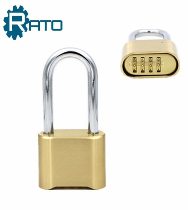 Factory Price Zinc Plated Finish Long Shackle Combination Golden Padlock