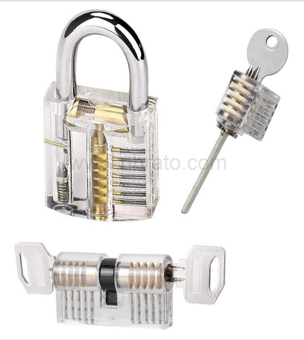 Home Repair Tool Set 3 PCS Locksmith Professional Practice Transparent Lock Repair Set