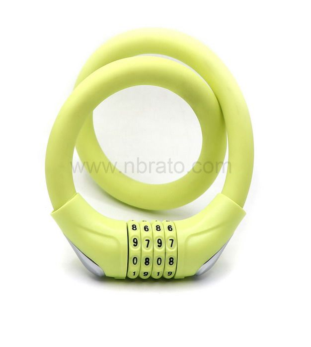 17mm Diameter Basic Self Coiling 4 Digit Resettable Combination Cable Security Bike Lock