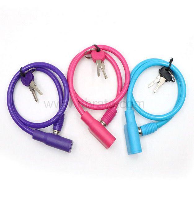 Colorful Anti Scratch Pink Lock 2 Keys Steel Cable Scooter Kids Bike Lock