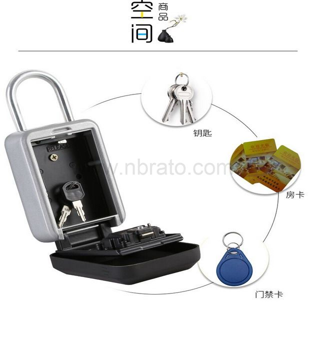 Waterproof Door handle hook  installation password key box Hanging type 4 digit combination key box