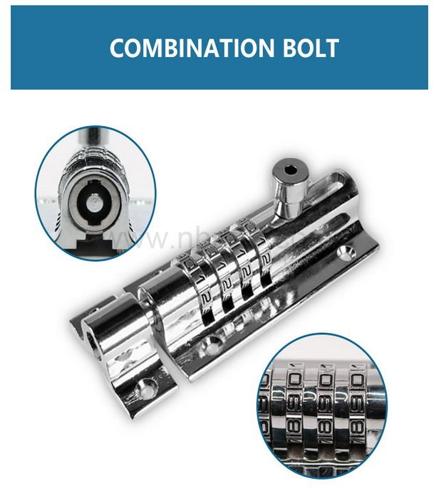Outdoor use Combo Bolt 4-Dials Combination Sliding Bolt Latch door lock