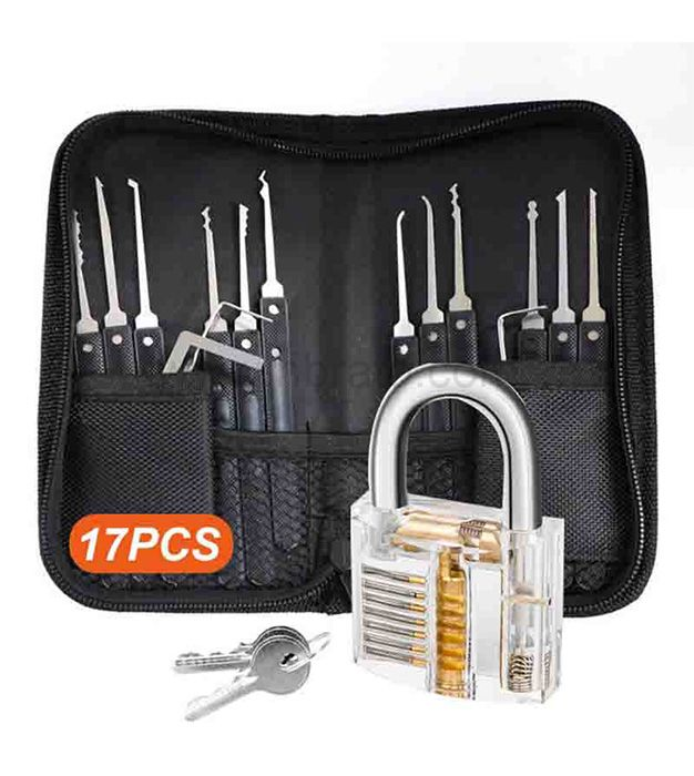 17 pieces pock picking tools with 1 cear practice and training locks for lock picking locksmith tool