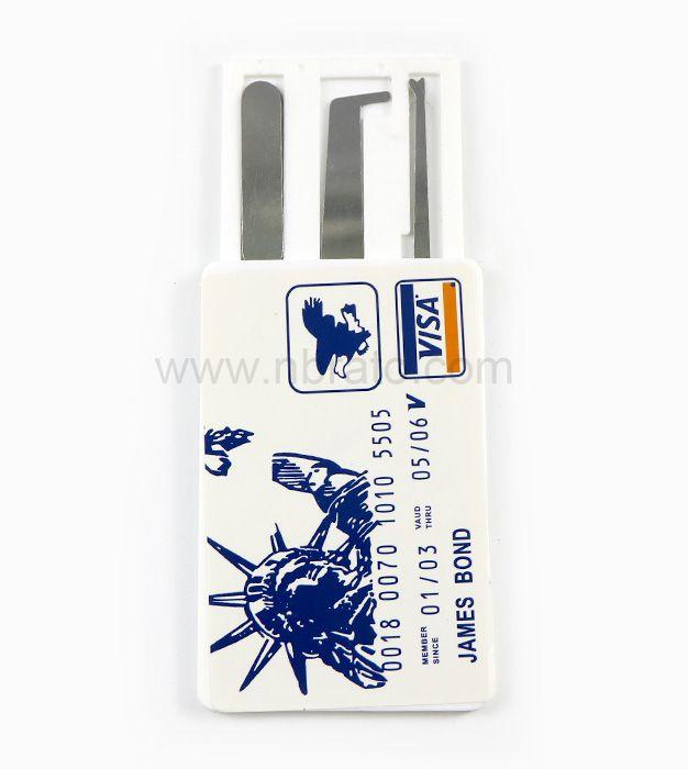 LOCKSMITH Tools VISA James Bond Credit Card Pick set 5 pcs Multi Hook lock pick tools