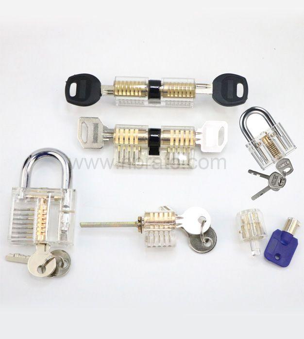 6-Piece Practice Lock Set for Beginner and Pro Locksmiths Transparent Padlock Professional Lock Picking Tool Kit