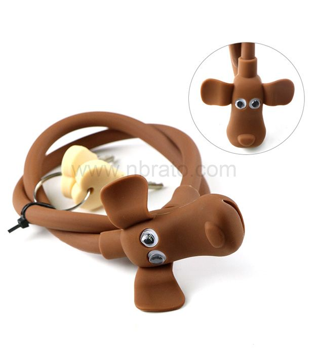 Cute animal shape Environmental protection silicone tape two keys Anti theft ring bicycle lock