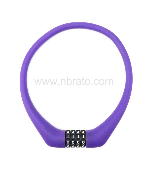 Security Bike Lock 4 Digit Resettable Foldable wear-resisting Combination 12mm Silicone Cable bicycle Lock