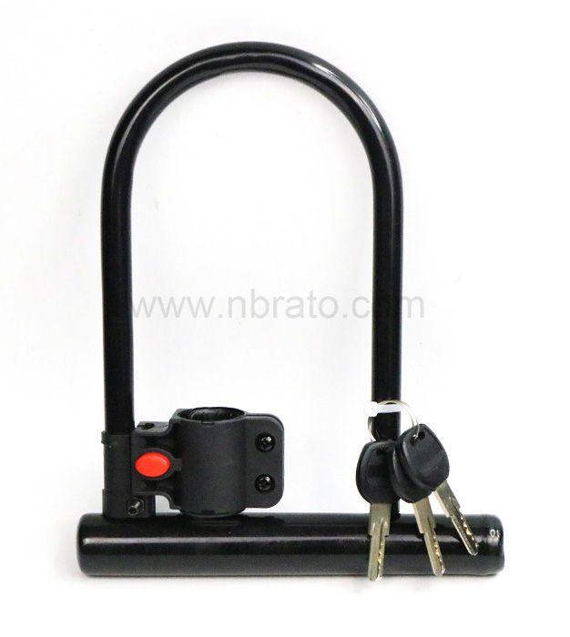 Environmental protection PVC coating Heavy duty anti theft hardened steel u shackle with 3 brass keys bike lock