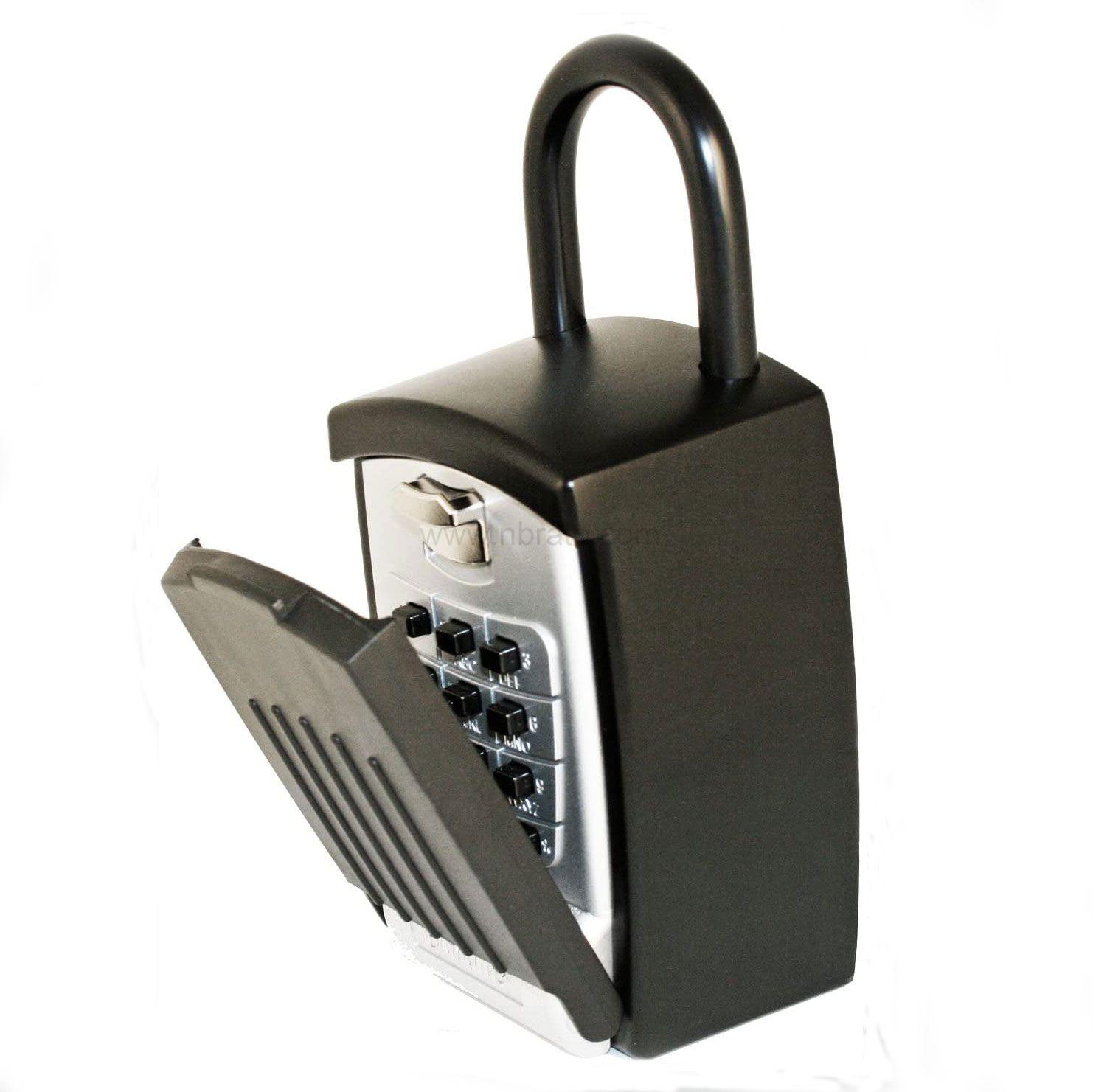 Punch Button Large Capacity Key Storage Anti theft Portable with Hook Shackle Lock Box Black Finish