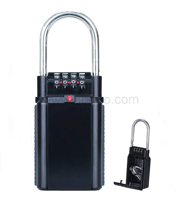 Portable anti theft metal hook key box with waterproof rain cover 4-digit code lock