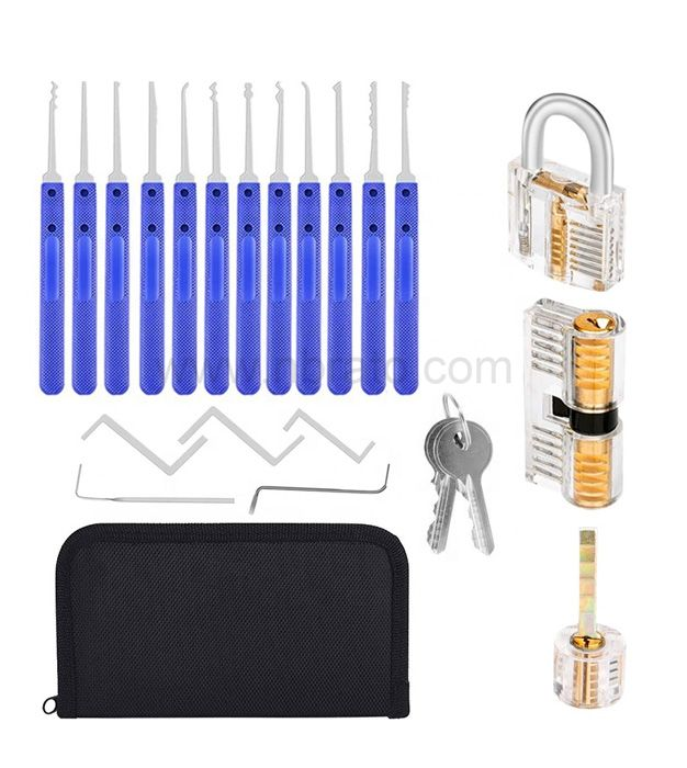 Stainless Steel 17 Tools 3 Locks 6 Keys and 3 Protective Cover Lock Pick Training Set