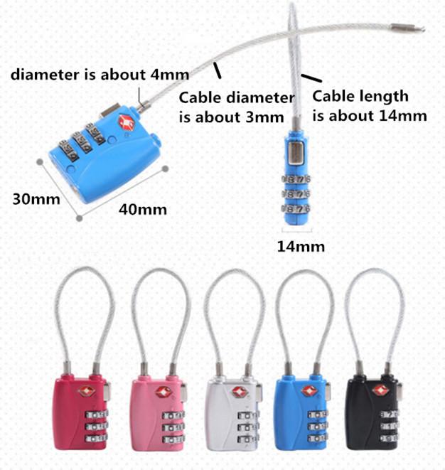3 Number Luggage Travel TSA Cable Lock