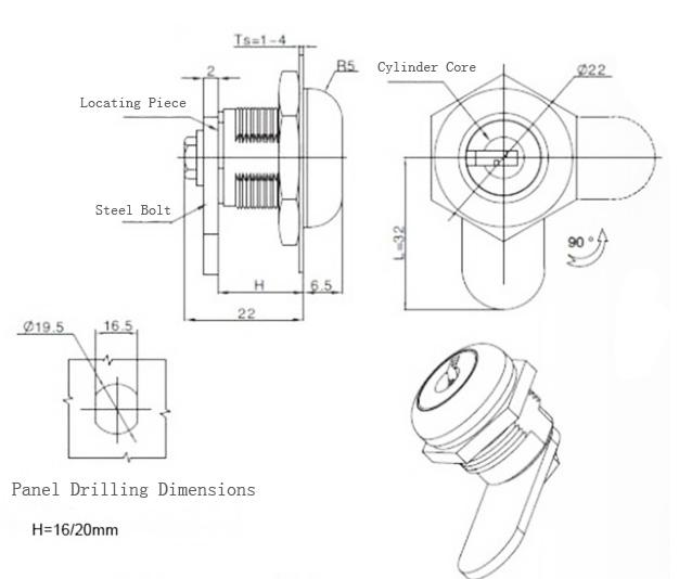 """Chrome Finish 7/8"""" Cylinder Keyed Alike Disc Tumbler Cam Lock"""