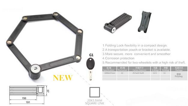 Hardened Steel Metal Folding Steel Joint Bicycle Lock