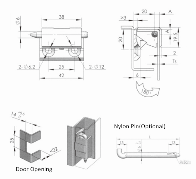 Zinc Alloy External Electronic Cabinet Door Hinge