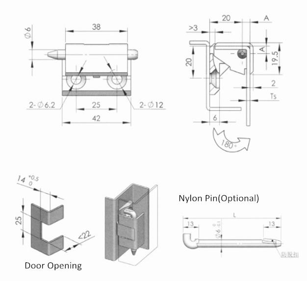 Zinc Alloy External Electronic Cabinet Door Hinge
