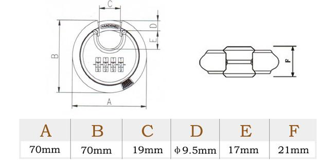 Heavy Duty 4 Code 70 mm Stainless Steel Disc Combination Padlock