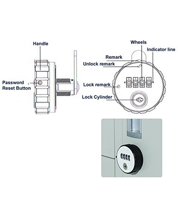 Mechanical 4 digital Furniture combination locker lock