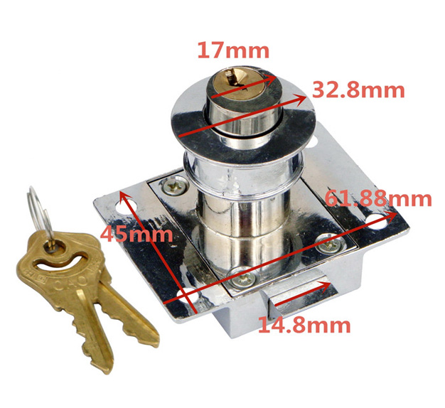 Key Alike Furniture Rim Type Push Button Latches