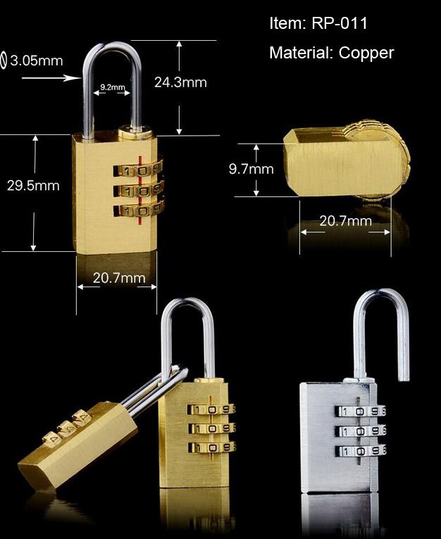 Small Brass 3 Digital Polishing Copper Padlock