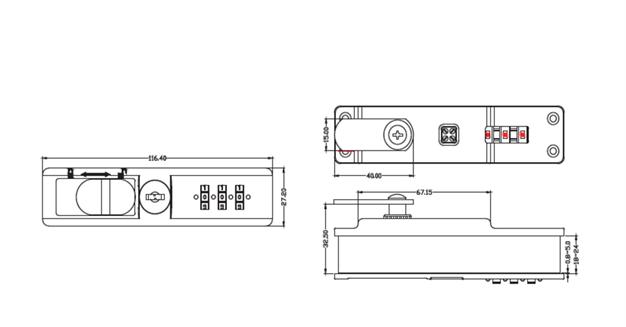 3 dial combination lock sliding Glass Showcase door lock