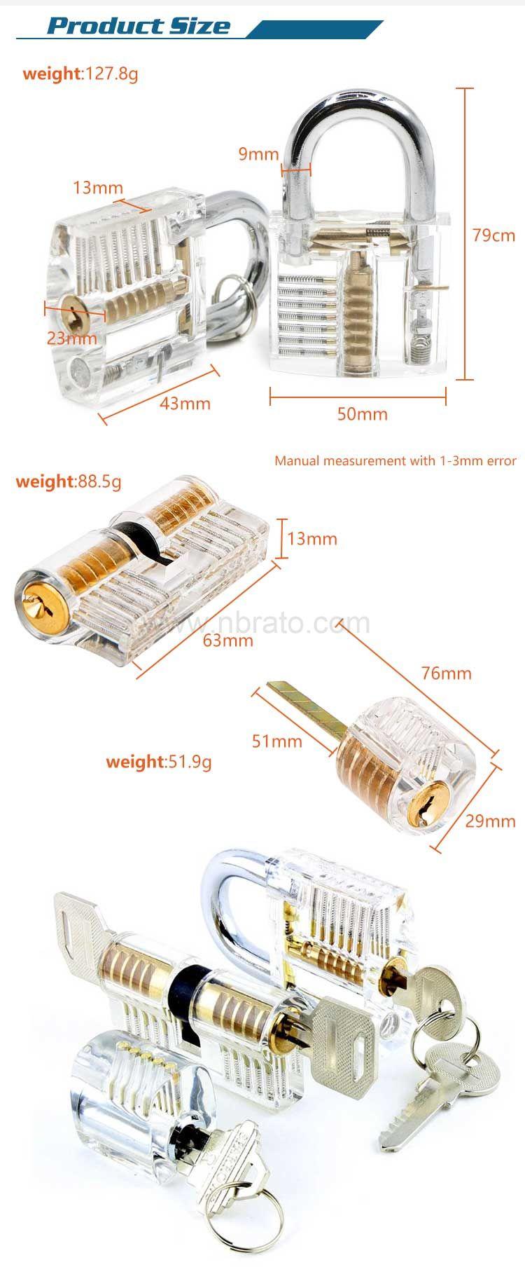 Stainless steel lock pick set 24PCS with 2 pcs transparent practice lock