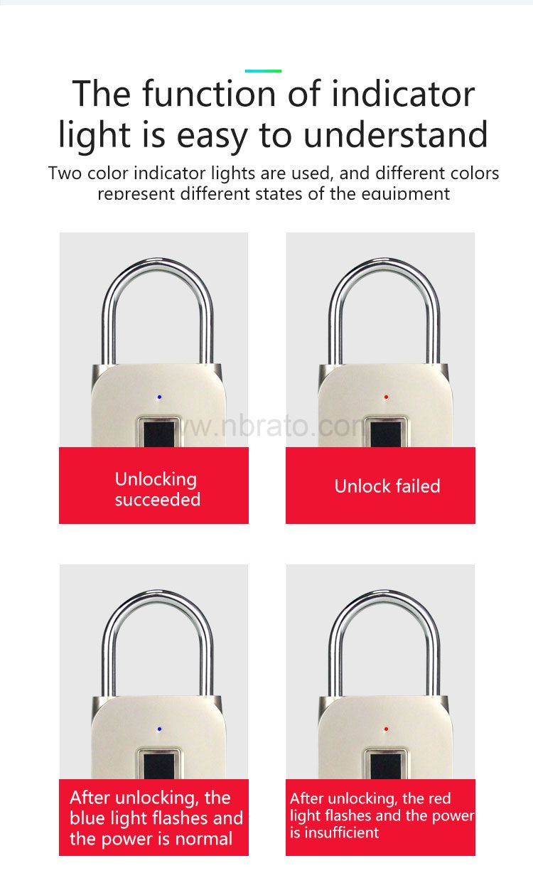 2020 new product high quality waterproof smart lock small keyless electronic lock Fingerprint padlock
