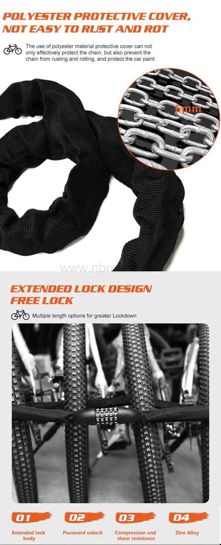 heavy duty anti theft password lock 5 digit bike chain lock