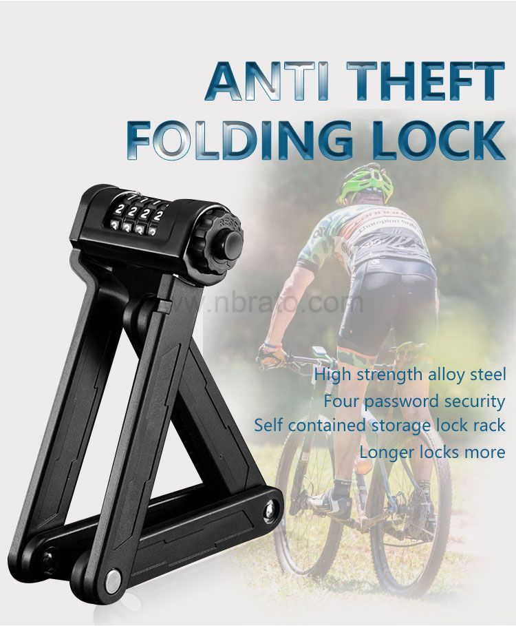 Classic Black with Steel Bars Heavy Duty Foldable Bicycle Chain Lock Foldylock Bike Lock