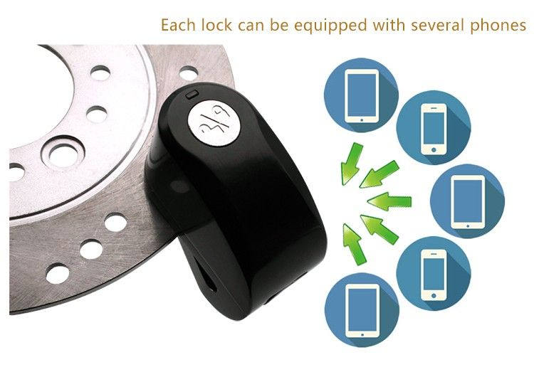 Anti- theft 115db alarm APP bluetooth zinc alloy Motorbike Disc Sensor Alarm Lock