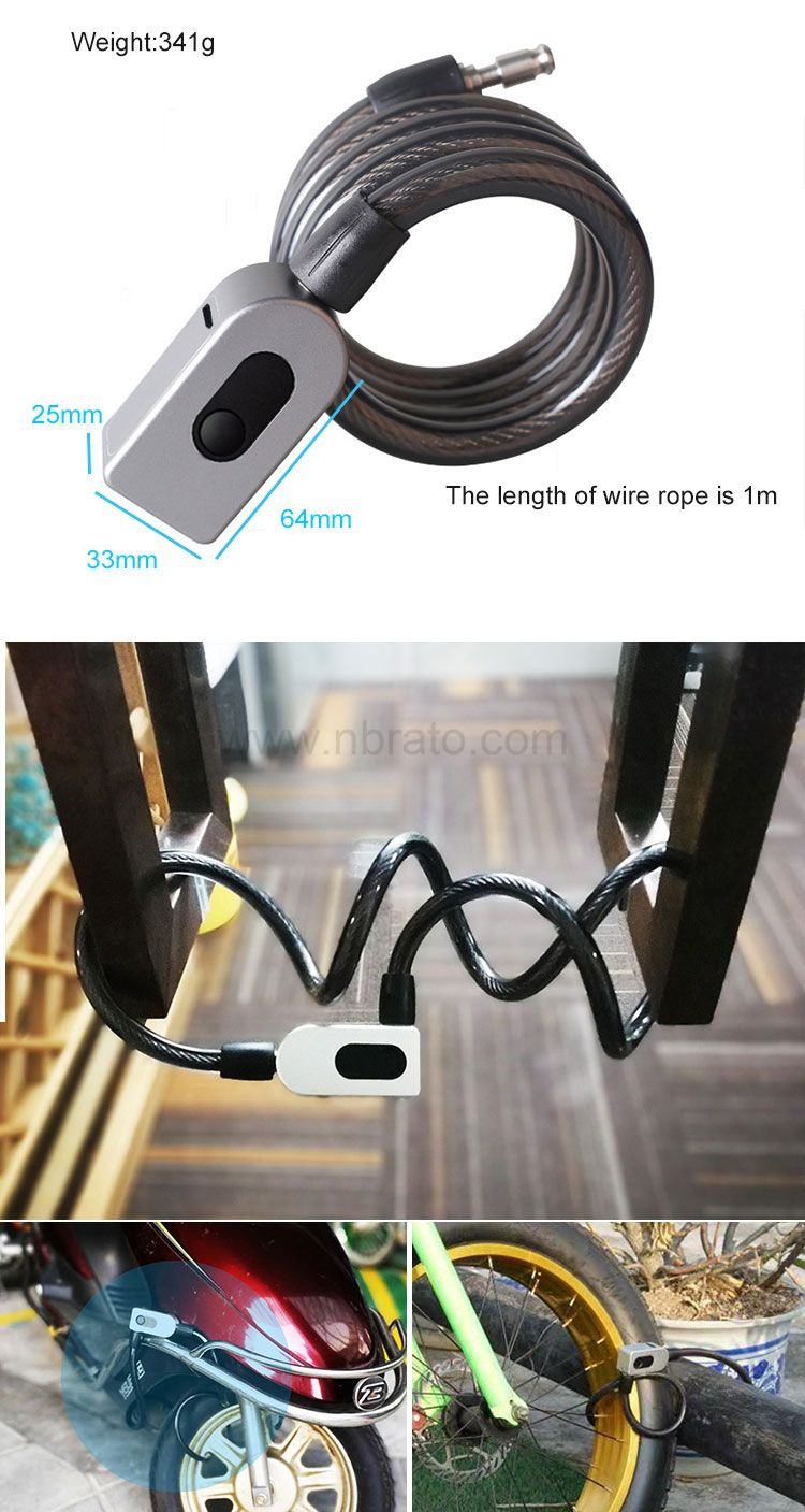 Foldable 1.0m Long Steel Ring Cable USB Charging Smart Fingerprint Bicycle Lock