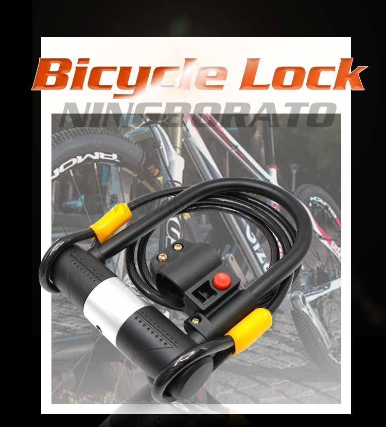 16mm steel shackle Heavy Duty Security U type bicycle Lock with cable