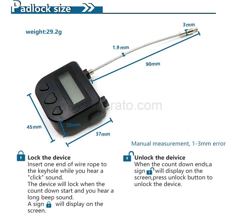 Liquid Crystal Display electronic cable Multifunctional Small bondage lock with Time Sex Lock