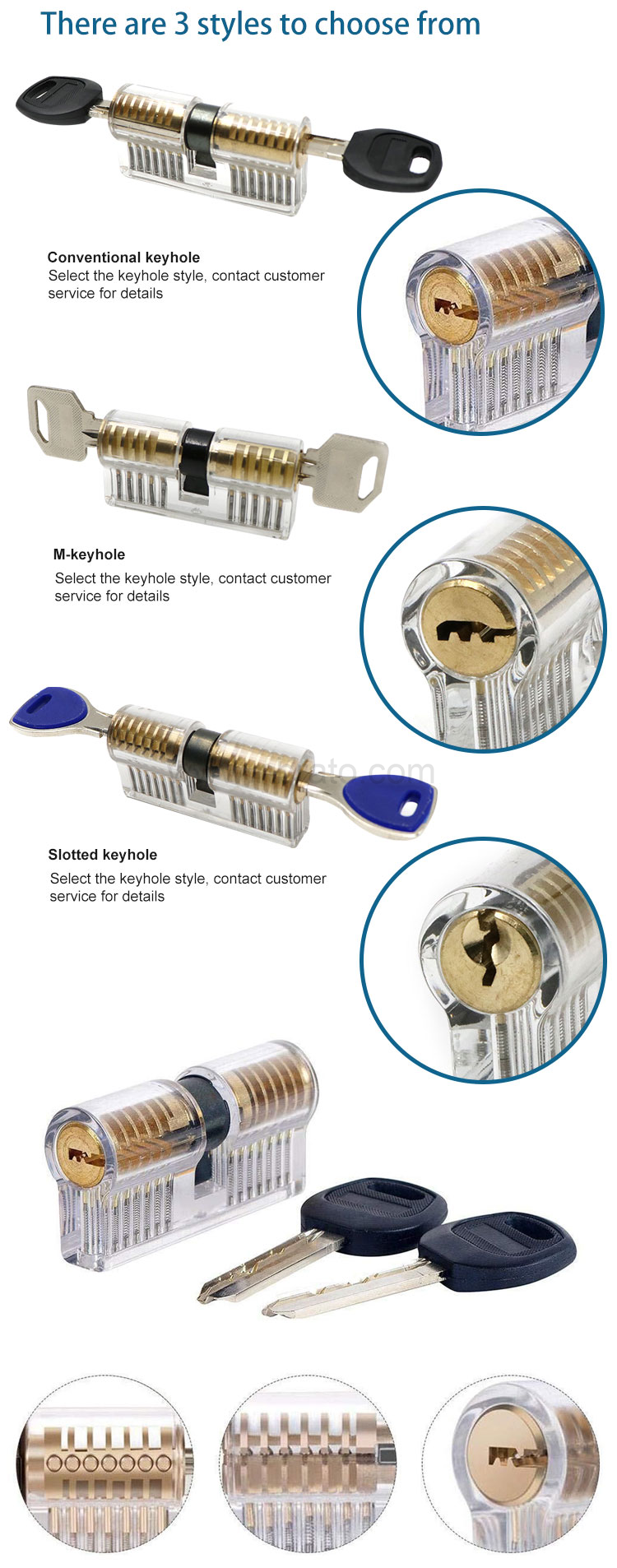 Acrylic Material Shell Clear Padlock Waterproof Locksmith Training Transparent Practice Locks
