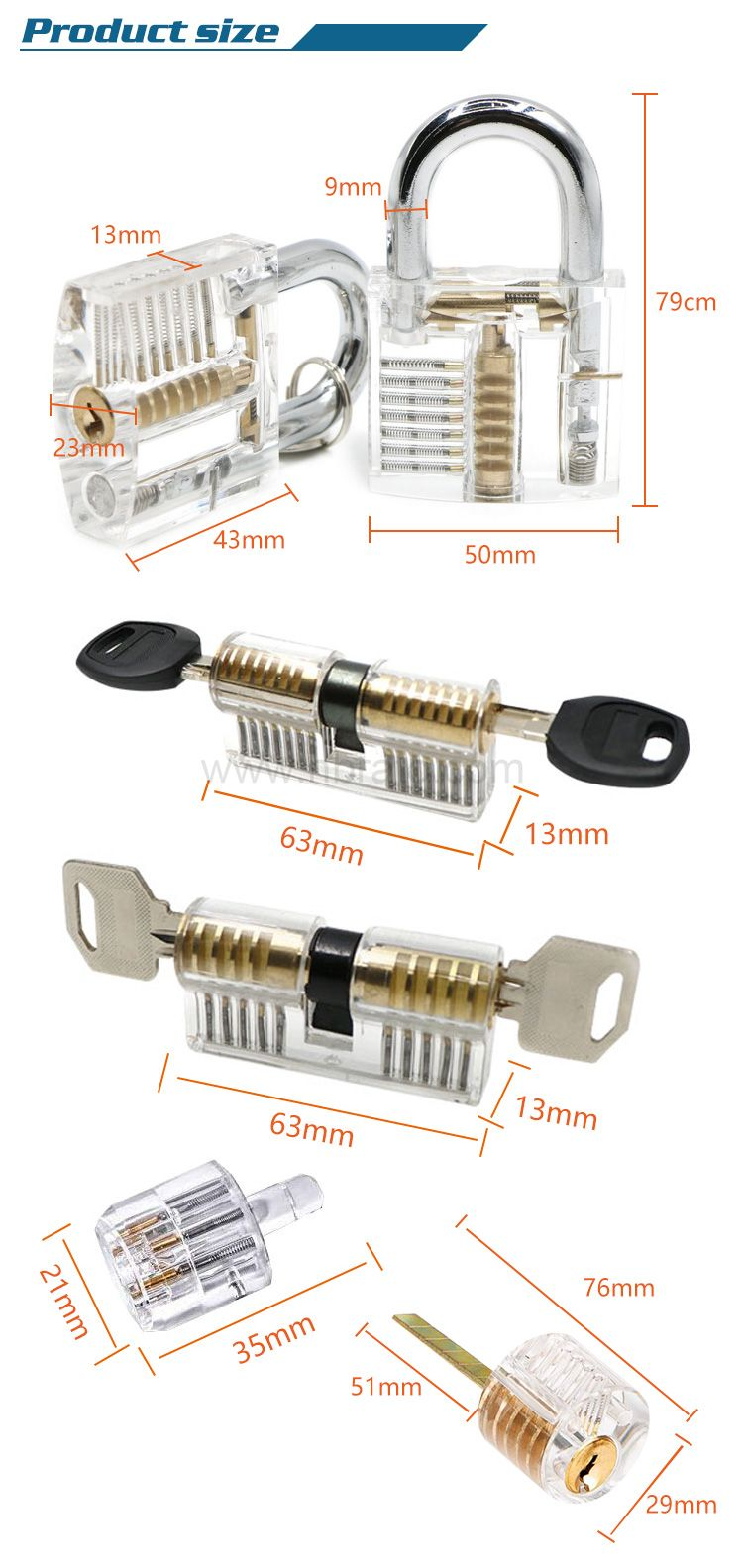 Transparent Lock Picking Set Professional Practice Cutaway Clear Locks Combination for Locksmith Learn Skill